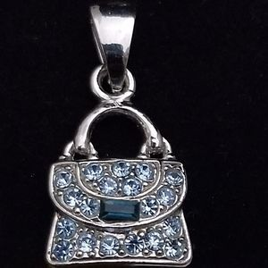 Silver Blue Crystals Purse Pendant